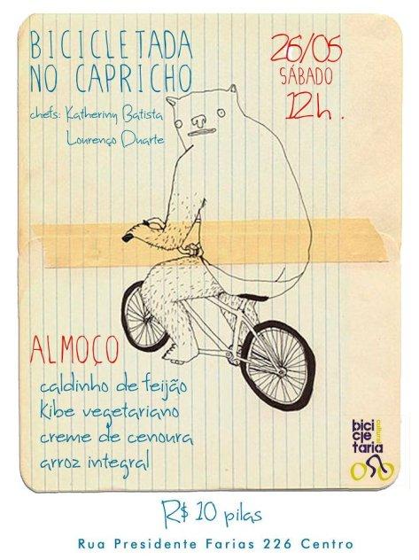 neste sábado BICICLETADA NO CAPRICHO c/ cardápio delicioso