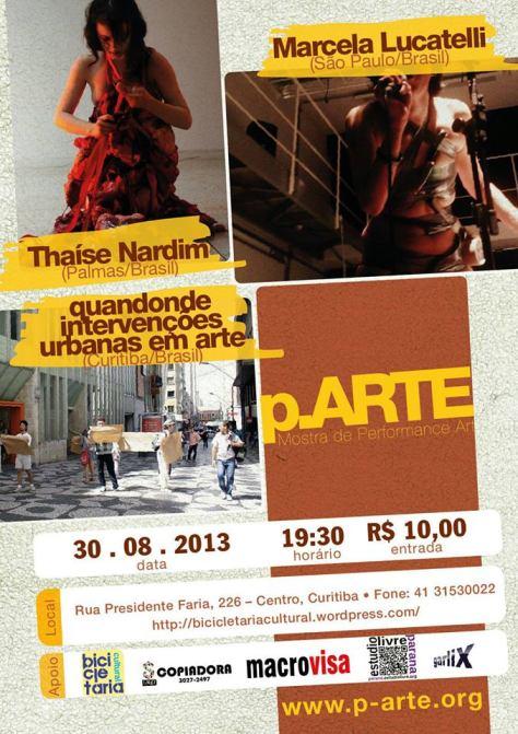 DIA 30/08MAIS UMA EDIÇÃO DA P.Arte - MOSTRA DE PERFORMANCE ART