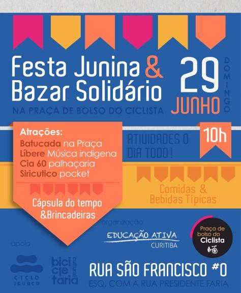 Neste domingo, 29, Festa Junina & Bazar Solidário, na Praça de Bolso de Ciclista